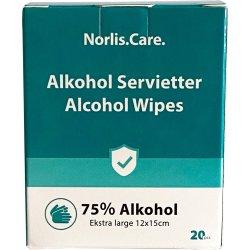 Norlis Care 75 % Alkohol Servietter, 20 stk