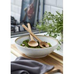 Bitz salatskål i stentøj & salatbestik i egetræ