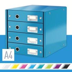 Leitz Click & Store skuffekabinet 4 rum, blå
