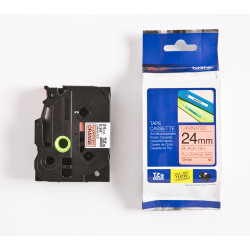 Brother TZe-B51 labeltape 24mm, sort på neonorange