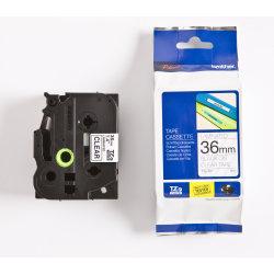 Brother TZe-161 labeltape 36mm, sort på klar