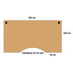 Fly hævesænkebord 180 cm centerbue bøg 72-118 cm