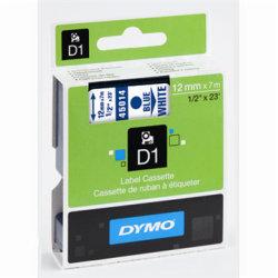 Dymo D1 labeltape 12mm, blå på hvid