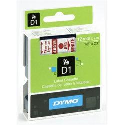 Dymo D1 labeltape 12mm, rød på hvid