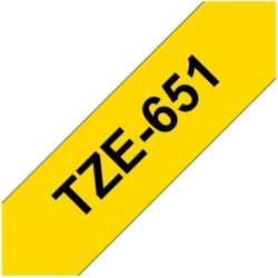 Brother TZe-651 labeltape 24mm, sort på gul
