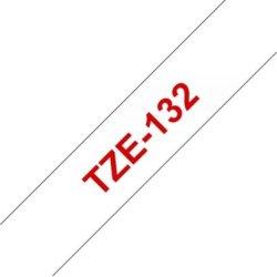 Brother TZe-132 labeltape 12mm, rød på klar