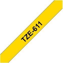 Brother TZe-611 labeltape 6mm, sort på gul