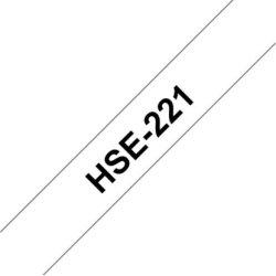 Brother HSe-221 krympeflex tape 9mm, sort på hvid