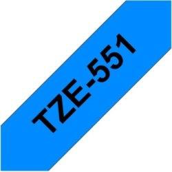 Brother TZe-551 labeltape 24mm, sort på blå