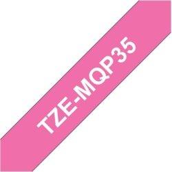 Brother TZe-MQP35 labeltape 12mm, hvid på pink