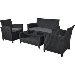 Mille sofasæt i sort polyrattan m/hynder