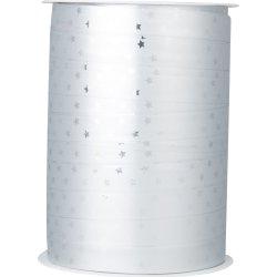 Gavebånd Metallic med stjerner Sølv 10 mm, 100 m