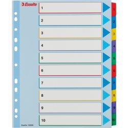Esselte Mylar register A4, 1-10, overskrivbar