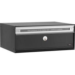 Allux PC2 Systempostkasse, sort stål, front
