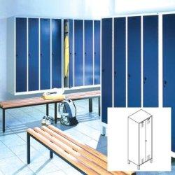 CP garderobeskab, 4x1 rum, Bænk, hængelås, Grå/Blå