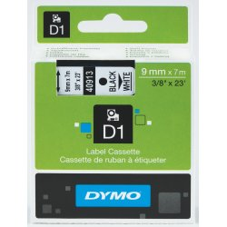 Dymo D1 labeltape 9mm, sort på hvid
