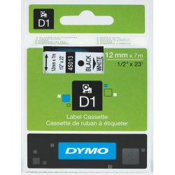 Dymo D1 labeltape 12mm, sort på hvid