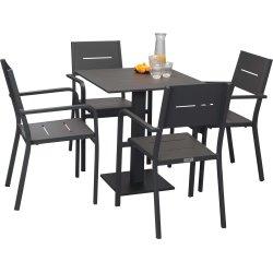 Outdoor Cafésæt i aluminium, 4 pers., antracit