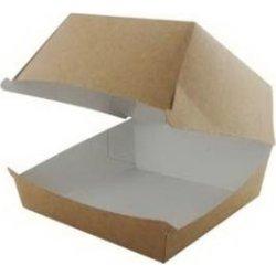 Takeaway burgerboks i brun/hvid, 120x120x82 mm