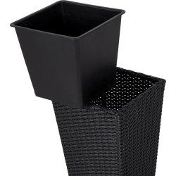 Josefine blomsterkrukke i sort polyrattan, H50 cm