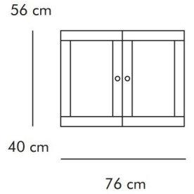 ABC Dobbeltskab m. trælåger, 76x40 cm, hvidlaseret