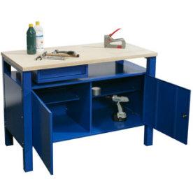 Basic arbejdsbord - 1 x skuffe/2 x underskab, Blå