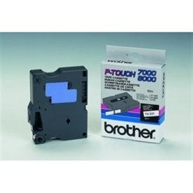Brother TX-641 labeltape 18mm, sort på gul