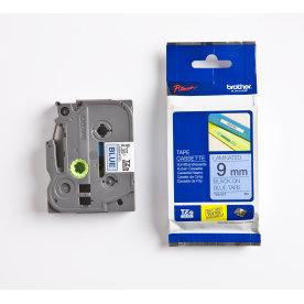 Brother TZe-521 labeltape 9mm, sort på blå
