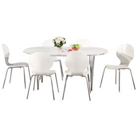 Comfort Classic kantinesæt m. 6 stole hvid/krom