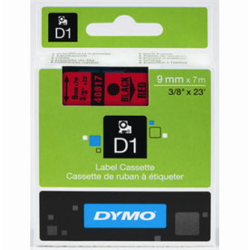Dymo D1 labeltape 9mm, sort på rød