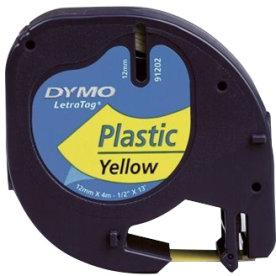 Dymo Letratag labeltape 12mm, sort på blå