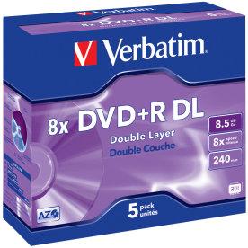 Verbatim DVD+R Double Layer Matt Silver 8x, 5 stk