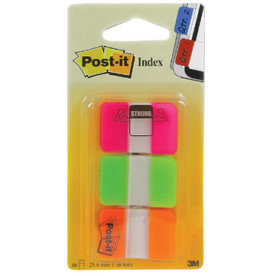 Post-it indexfane strong, 4x38 mm 3 farver