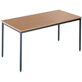 Kantinebord, 120x80 cm, bøg med sort stel
