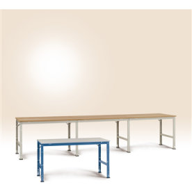 Manuflex arbejdsbord 200x80, Grå melamin, Tilbygni