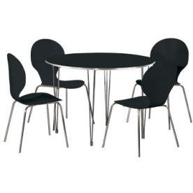 Comfort Classic kantinesæt m. 4 stole sort/krom