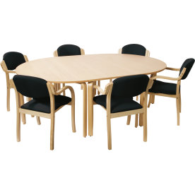 Morten konferencesæt m. 6 koksgrå stole, m. armlæn