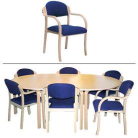 Morten konferencesæt m. blå stole m. armlæn