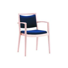 7014 Lænestol i ubeh. massiv bøg m/blåt stof