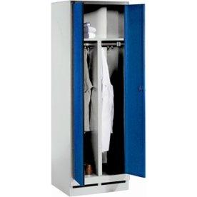 CP garderobeskab,1x(1x2)rum,Sokkel,Hængelå,Grå/Blå