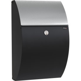 Allux 7000 Postkasse, sort m. galvaniseret klap
