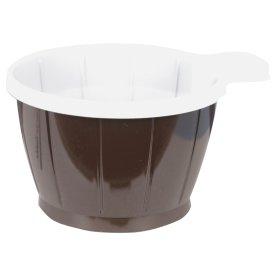 Kaffekop med hank 20cl, brun/hvid