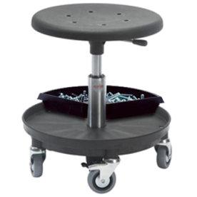 Montørstol, PU sæde, værktøjsbakke, sort
