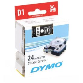 Dymo D1 labeltape 24mm, hvid på sort