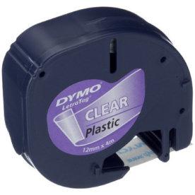 Dymo Letratag labeltape 12mm, sort på klar