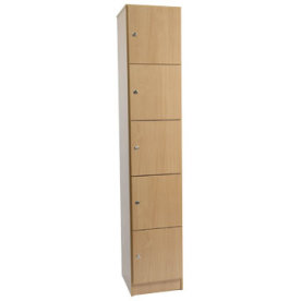 Garderobebokse i træ m/5 rum.