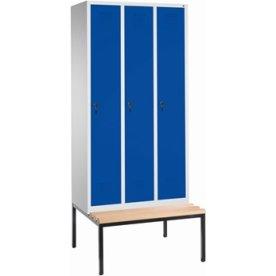 CP garderobeskab, 3x1 rum, Bænk, hængelås, Grå/Blå