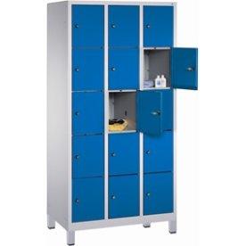 CP garderobeskab, 3x5 rum, Ben,Cylinderlås,Grå/Blå