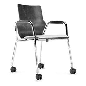 Space Konferencestol, hjul, sort læder, krom stel