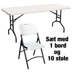 Park sæt til 10 pers. 1 kuffertbord+10 klapstole